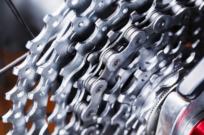 きれいな自転車のチェーンの画像